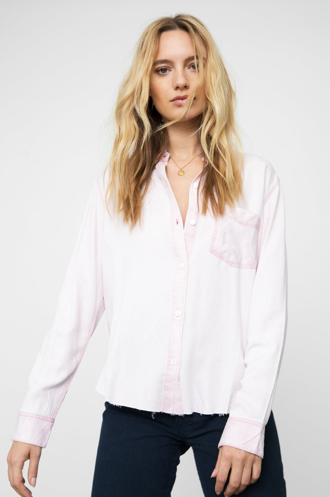 Ingrid Raw Dusty Rose Button Down