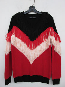 Rouge Red Knit Sweater With Fringe