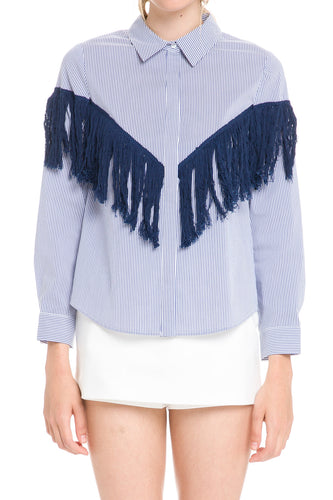 Stripped Shirt With Fringe Detail