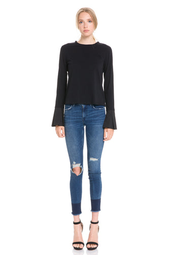 Long Sleeve Shirt with Contrast Flared Cuff