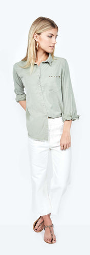 Jedi Sage Long Sleeve Button Down Shirt with Stud Collar and Pocket