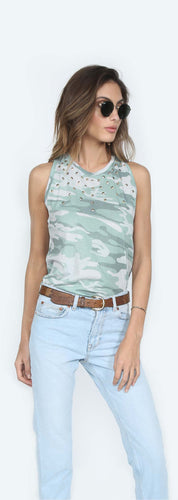 Racer Jade Camo High Neck Tank with studded Front
