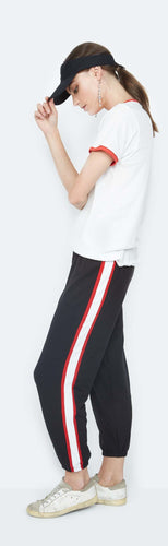 Colby Black Cropped Pants With Tuxedo Stripe