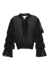 Gildah Black Swiss Dot and Lace Blouse