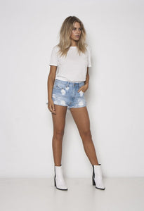 Cloudy Waters Siren Denim Shorts