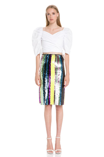 Multi Colored Sequinned Midi Skirt