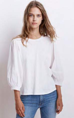Simpson White Cotton Voile Long Sleeve Top