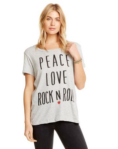 Peace Love Rock Heather Grey Tee