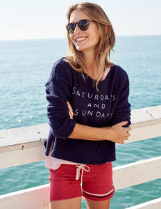 Saturday & Sunday Navy Cropped Sweatshirt