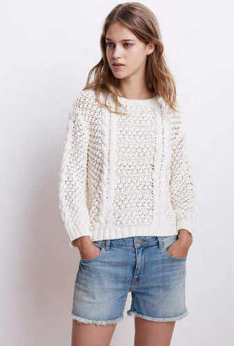 Vienna Milk Popcorn Cable Sweater