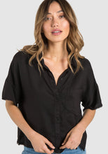Black Short Sleeve Frayed Hem Button Down