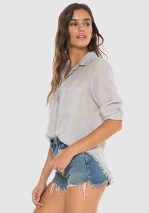 Marble Grey Frayed Hipster Shirt