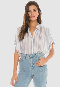 Lucias Stripe Short Sleeve Flowy Button Down
