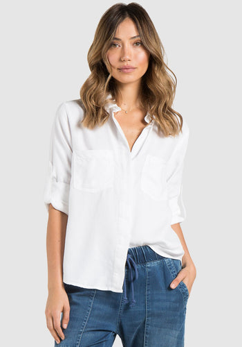 White Split Back Button Down