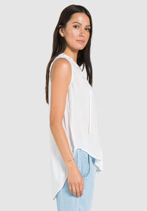 Sleeveless White Grommet Tie Blouse