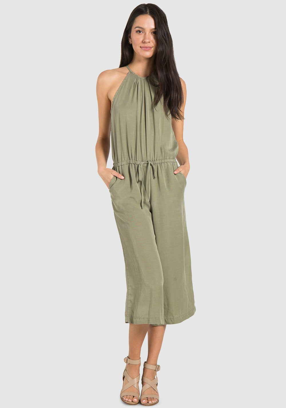 Pleated Crop Leg Grassland Jumpsuit