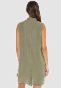 Dried Sage Button Back Halter Dress