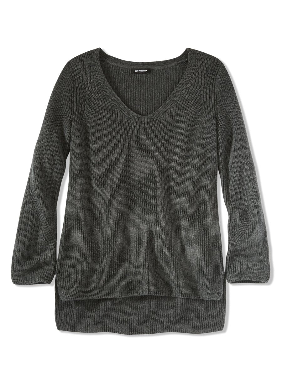 Charcoal Cotton V Neck Knit Tunic