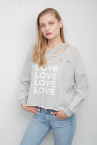 Andrews Heather Grey Love Sweatshirt with distressing