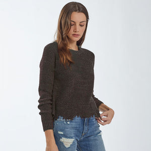 Brunette Distressed Scallop Sweater