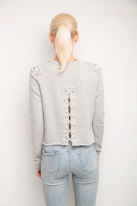 Laurie Grey Back Lace up Sweatshirt