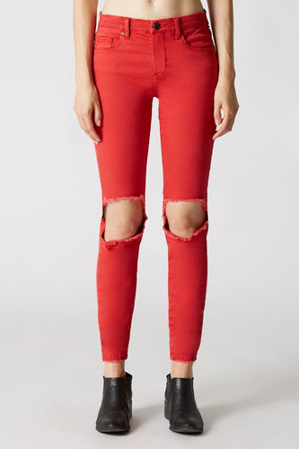 Better Off Red Mid Rise Skinny Ankle Jeans