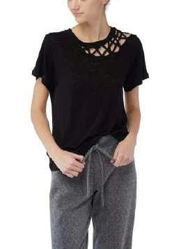 Kira Black Lace Neck Linen Tee