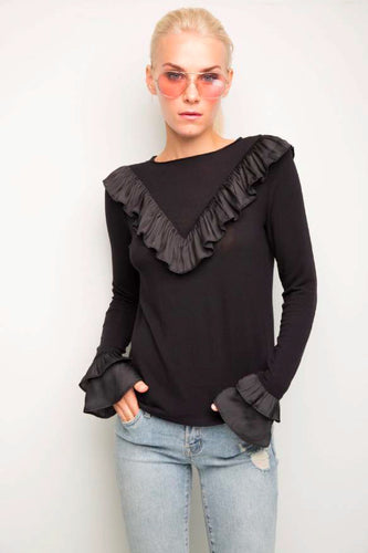 Scarlette Black Long Sleeve Top With Ruffle
