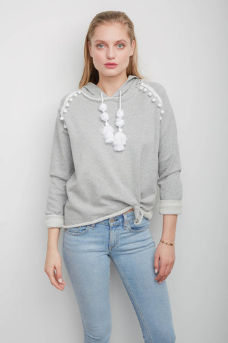 Bree Heather Grey Hooded Sweatshirt with Pompom Details