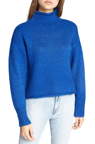 Electric Blue Curl Up Sweater