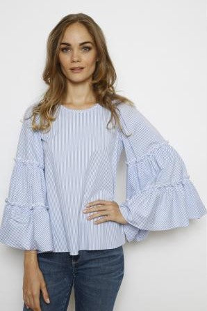 Aryn Blue and White Stripped Blouse