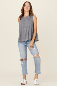 Lera Heather Grey Open Back Tank Top