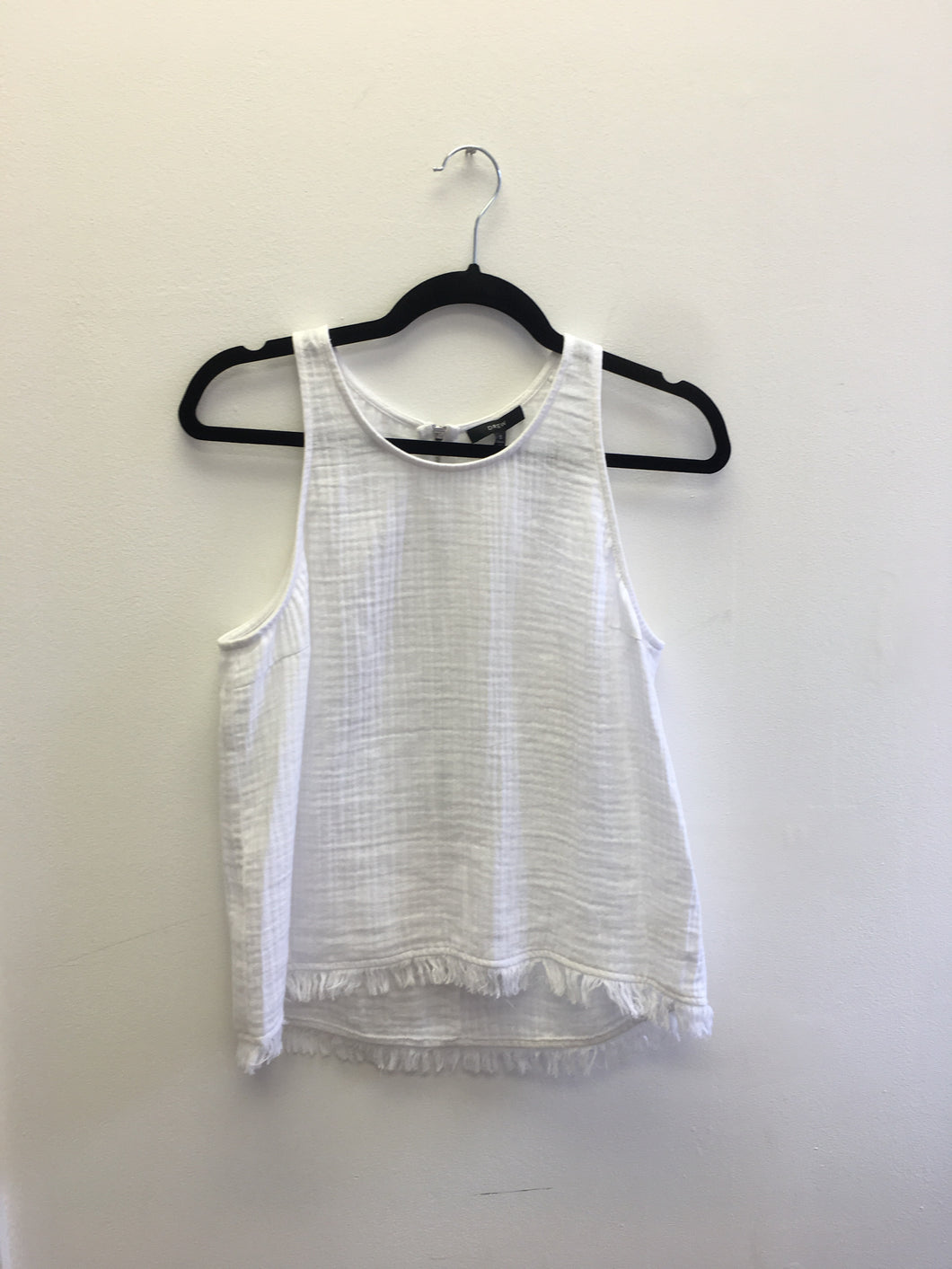 Teagan White Zip Back Frayed Tank Top
