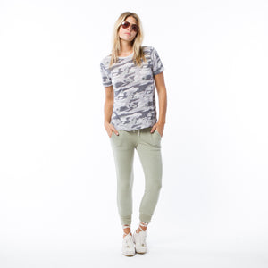 Dove Grey Camo Oversized Crew Neck