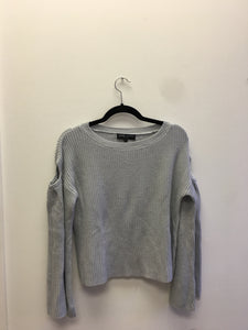 Yarrow Light Grey Cut Out Bell Sleeve Sweater