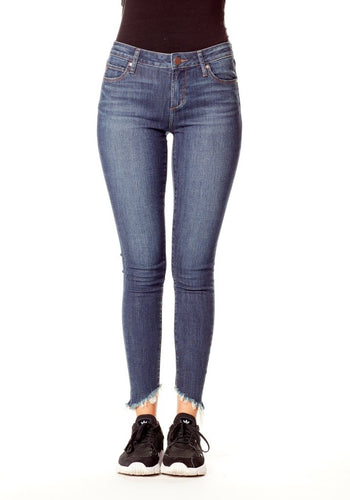 Suzy Cougar Frayed Bottom Midrise Skinny Cropped Jeans