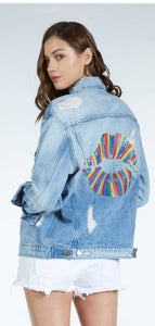 Spencer 90's Denim Jacket with Rainbow Embroidered Lips