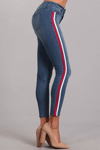Hold On Sport Stripe Stretch Jeans