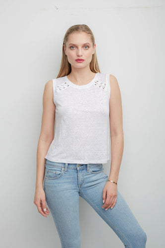 Jones White Sleeveless Top With Laceup Back