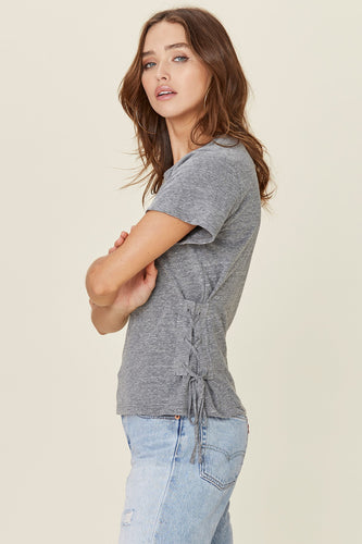 Landis Heather Grey Lace Up Tee