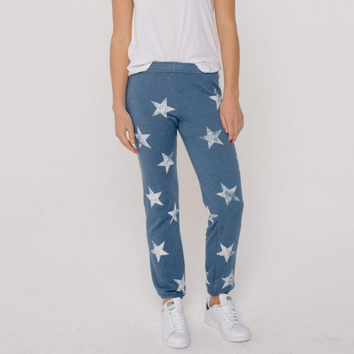 Jean Blue Elastic Waist Star Sweat