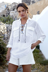 Matea White Lace up Shirt