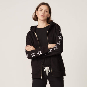 Oversized Zipup Hoodie With Stars