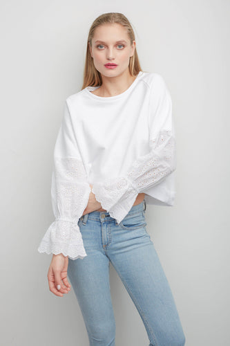 Penelope White Sweatshirt with Lace Sleeves