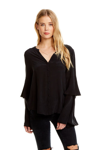 Silk Tiered Peplum Sleeve Button Up Shirt