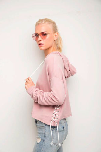 Tessa Rose Hoodie with Lace up Sides