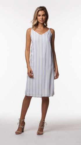 Vanessa White and Blue Stripped Woven Dress