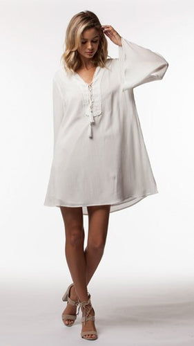 Cassius White Bell Sleeve Boho Dress
