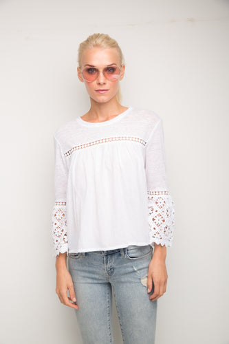 Rachel White Lace Combo Top