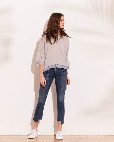 Mojave Hi Lo Boxy Sweater With Stripped Underlay